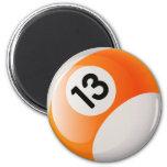 NUMBER 13 BILLIARDS BALL 2 INCH ROUND MAGNET