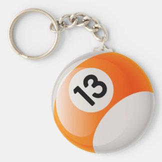 NUMBER 13 BILLIARDS BALL BASIC ROUND BUTTON KEYCHAIN