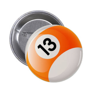 NUMBER 13 BILLIARDS BALL PINBACK BUTTON