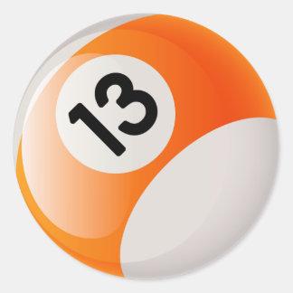 NUMBER 13 BILLIARDS BALL ROUND STICKER