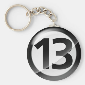 Number 13 black Key Chain