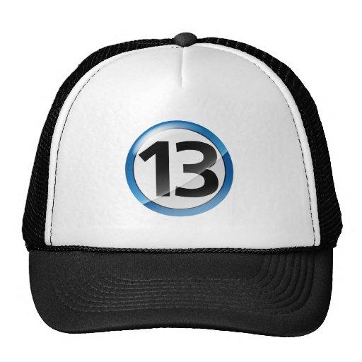 Number 13 blue trucker hat