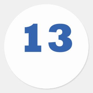 Number 13 classic round sticker