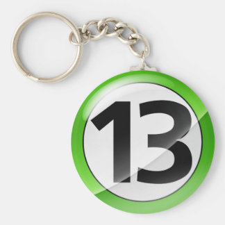 Number 13 green Key Chain