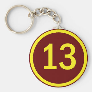 number 13 in a circle keychain