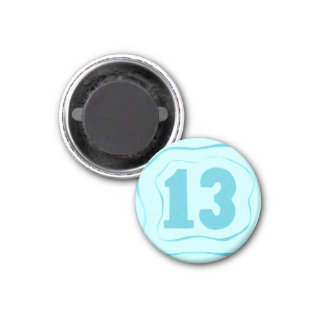 Number 13 magnet with aqua blue ripples 1 inch round magnet