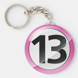 Number 13 pink Key Chain