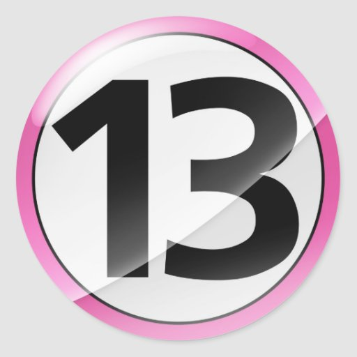 Number 13 pink sticker