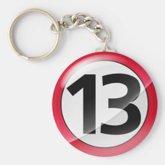 Number 13 red Key Chain