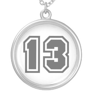 Number 13 silver plated necklace