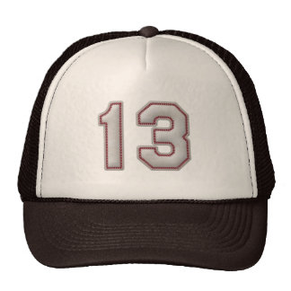 Number 13 with Cool Baseball Stitches Look Trucker Hat