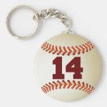 Number 14 Baseball Basic Round Button Keychain
