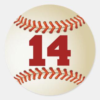 Number 14 Baseball Classic Round Sticker