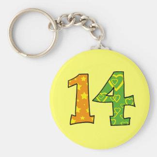 Number 14 basic round button keychain
