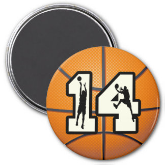 Number 14 Basketball and Players 3 Inch Round Magnet