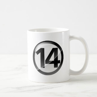 Number 14 black Classic White Mug