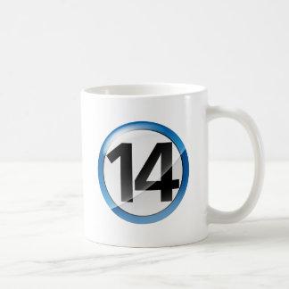 Number 14 blue Classic White Mug