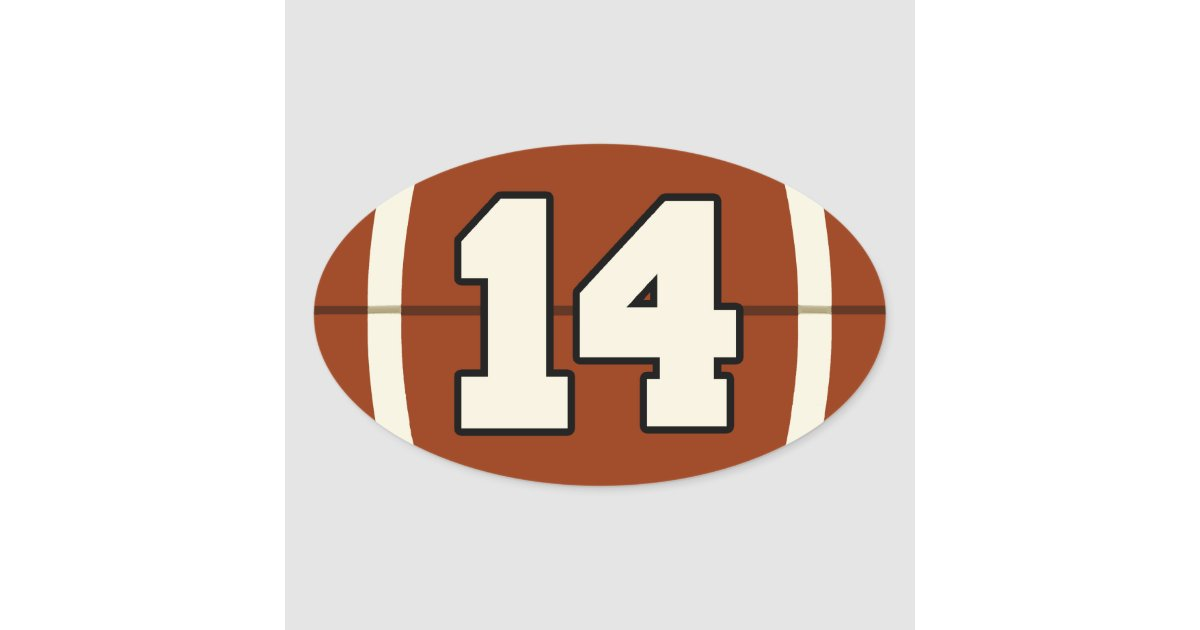 Number 14 Football Sticker  Oval Sticker
