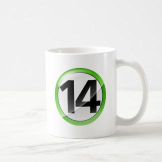 Number 14 green Classic White Mug