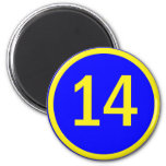 number 14 in a circle 2 inch round magnet
