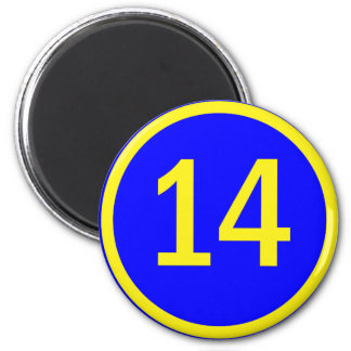 number 14 in a circle magnet