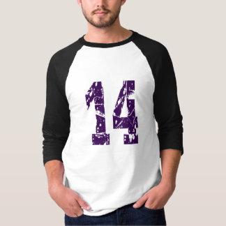 NUMBER 14 PURPLE GRUNGE DESIGN T-Shirt