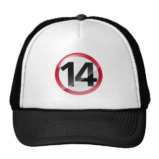 Number 14 red trucker hats