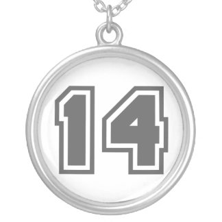 Number 14 round pendant necklace