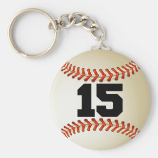 Number 15 Baseball Basic Round Button Keychain
