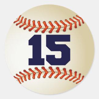 Number 15 Baseball Classic Round Sticker