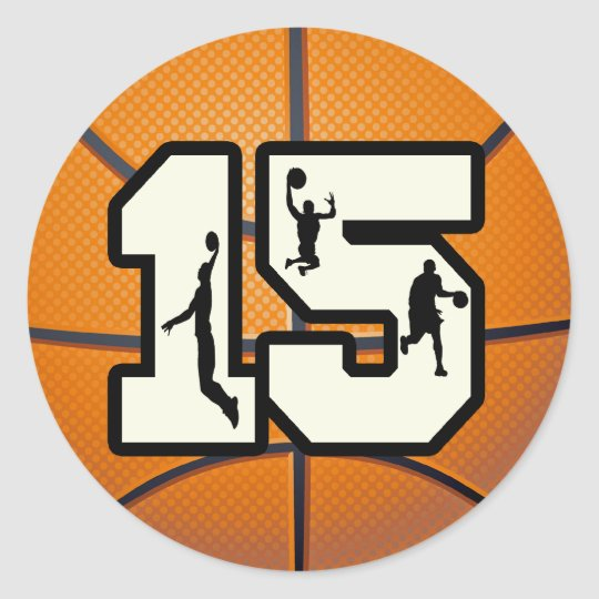 number 15 basketball and players classic round sticker zazzle com