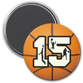 Number 15 Basketball and Players Fridge Magnet