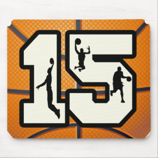 Number 15 Basketball and Players Mouse Pad