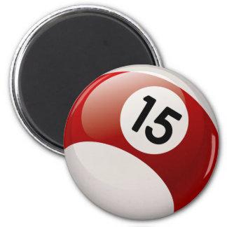 NUMBER 15 BILLARDS BALL 2 INCH ROUND MAGNET