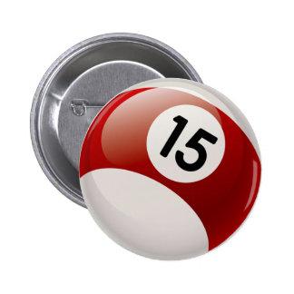 NUMBER 15 BILLARDS BALL BUTTON