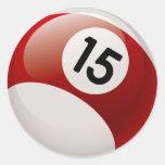 NUMBER 15 BILLARDS BALL CLASSIC ROUND STICKER