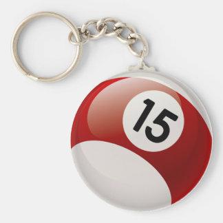 NUMBER 15 BILLARDS BALL KEY CHAINS