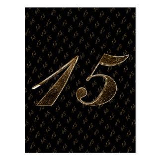 Number 15 Girls 15th Quinceanera Birthday Wedding Postcard