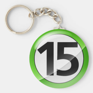 Number 15 green Key Chain