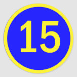 number 15 in a circle classic round sticker