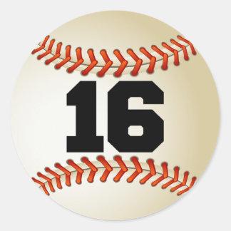 Number 16 Baseball Classic Round Sticker