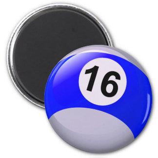 Number 16 Billiards Ball 2 Inch Round Magnet