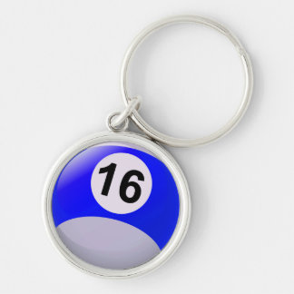 Number 16 Billiards Ball Keychain
