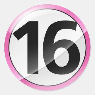 Number 16 pnik sticker