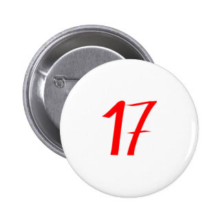 Number 17 seventeen red color pinback buttons
