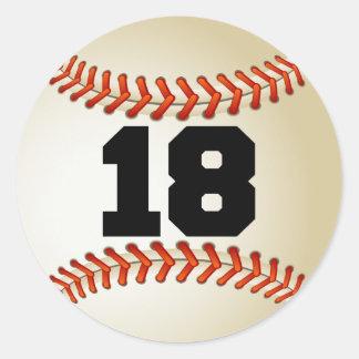 Number 18 Baseball Classic Round Sticker