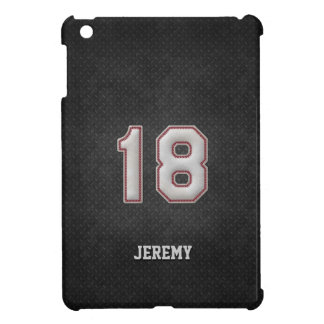 Number 18 Baseball Stitches with Black Metal Look iPad Mini Cover