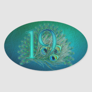 Number 19 / age / years / 19th birthday template oval sticker
