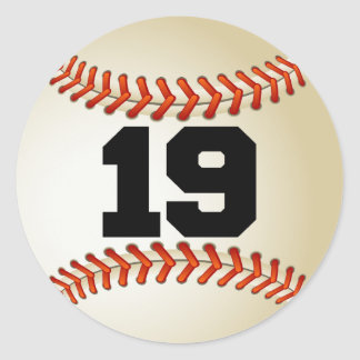 Number 19 Baseball Classic Round Sticker