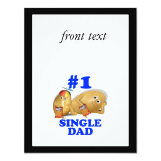 """Number 1 (#1) Single Dad - Father & Son Potatoes 4.25"""" X 5.5"""" Invitation Card"""